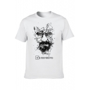 Men's Short Sleeve Round Neck Character Letter HEISENBERG Printed Fitted Tee