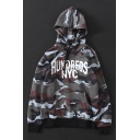 Letter HUNDREDS NYC Camouflage Printed Long Sleeve Cotton Green Hoodie
