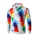 Men's Trendy Stylish Colorful Ink Jet Printed Long Sleeve Regular Fitted White Hoodie