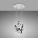 Fedora Suspended Lamp Contemporary Transparent Glass 3 Light Accent Hanging Lamp in Chrome