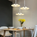 Acrylic Floral Pendant Light Simple Modern 3 Light Hanging Light in White for Living Room