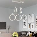 Five Light Vertical Ring Pendant Light Modernism Silicon Gel Suspended Light for Living Room
