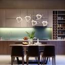 Acrylic Heart Shape Hanging Light Modern 3 Light/5 Light Decorative Cluster Pendant Light