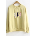 Lovely Long Sleeve Cat Embroidered Pom Pom Embellished Crewneck Pullover Sweatshirt