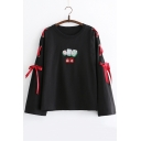 Lace Up Long Sleeve Round Neck Pattern New Arrival Leisure Pullover T-Shirt