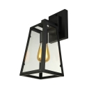 Matte Black Single Light Wall Sconce Industrial Retro Iron Trapezoid Wall Light with Glass Shade