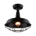 Wrought Iron Wire Cage Semi Flush Mount Light in Black for Kitchen Island Farmhouse Loft