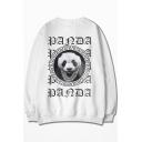 Men's Unique White Letter Panda Printed Round Neck Long Sleeve Loose Fit Sweatshirt