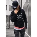 Men's Basic Simple Letter JMG Printed Long Sleeve Sports Fit Cotton Hoodie