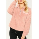 Women's Fashion Pink Warm Fluffy Stand-Collar Half-Zip Pink Plain Sweatshirt