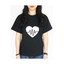Trendy Heart Printed Short Sleeve Crewneck Loose Casual T-Shirt