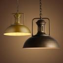 1 Light LED Pendant with Dark Brown/Brass Metal Shade