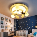 Bee Shape LED Flush Mount Children Bedroom Opal Glass 1/2/3 Light Decorative Lighting Fixture