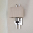 1 Bulb Rectangle Wall Sconce with Strips Fabric Shade Modernism Lighting Fixture in Chrome