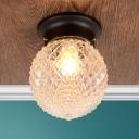 Prismatic Glass Orb Ceiling Light Modernism 1 Head Flush Light Fixtures in Black