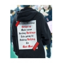 Men's New Stylish Letter Printed Long Sleeve Loose Casual Oversized Black Hoodie
