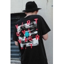 Men's Unique Letter Graffiti Print Round Neck Black Cotton Graphic T Shirt