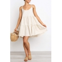 Women's Spaghetti Straps Bow-Tied Back Simple Plain Mini Swing Slip Dress