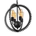 Industrial Iron Sphere Cage LED Chandelier with Four-light
