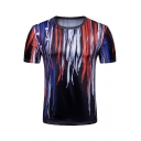 Men's 3D Printed Round Neck Short Sleeve Sports Vented Black Fitted T-Shirt
