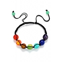 Fancy Seven Color Rainbow Gemstone 10mm Bead Bracelet for Gift