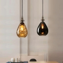 Water Drop Hanging Lamp Contemporary Adjustable Amber/Smoke Glass 1 Light Drop Light