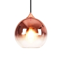 1 Bulb Globe Suspended Lamp Designers Style Faded Glass Art Deco Hanging Light in Rose Gold