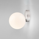 Silver Finish Orb Sconce Light Minimalist Opal Glass 1 Light Decorative Wall Mount Fixture