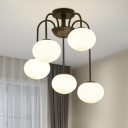5 Lights Oval Chandelier Designers Style Frosted Glass Suspension Light in Black/White
