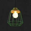 1 Light Metal Cage Pendant Lighting Modern Decorative Hanging Light Fixture in Green/Pink/Yellow