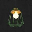 1 Light Metal Cage Pendant Lighting Modern Decorative Hanging Light Fixture in Green/Pink/Yellow