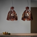 Brown Finish Foglie Hanging Light Designers Style Acrylic 1 Bulb Decorative Suspended Light