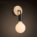 Wooden Open Bulb Lighting Fixture Modern Fashion Single Light Wall Lamp in Black