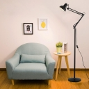 Adjustable Arm Floor Light Contemporary Metal 1 Light Standing Light in Black Finish