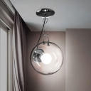 Clear Glass Ball Ceiling Light Modern Design 1 Light Semi Flush Mount Lighting in Chrome