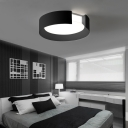 Contemporary C Shape Flush Mount Lighting Acrylic 1 Light Ceiling Light in Black