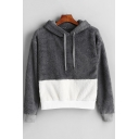 Winter's Warm Fluffy Colorblock Long Sleeve Loose Casual Pullover Grey Hoodie
