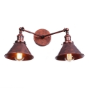 Rust Finish Cone Wall Lamp Retro Loft Style Iron 2 Heads Wall Lighting for Warehouse