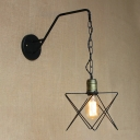 1 Head Star Metal Frame Wall Lamp Modern Chic Hanging Wall Sconce in Bronze for Coffee Shop