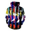 New Trendy 3D Colorful Graffiti Print Long Sleeve Loose Fit Unisex Hoodie