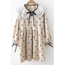 Lovely Heart Printed Bow-Tied Peter-Pan Collar Balloon Sleeve Mini Loose Swing Pleated Dress