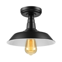 Vintage Black Single Light Down Lighting Industrial Style LED Semi Flush Ceiling Light