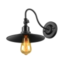 Seven Inches High Single Light Gooseneck Barn Wall Light in Vintage Black
