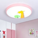 Pink Cartoon Giraffe Design Ceiling Lamp with Round Shape Acrylic LED Ceiling Lamp in White for Kids Bedroom