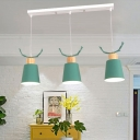 Gray/Green Conical Hanging Lamp with Antler Macaron Metal 3 Lights Lighting Fixture for Children Room