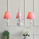 Dottie Pattern Chandelier Light Rustic Style Blue/Red Fabric Shade 3 Heads Hanging Lamp