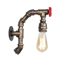 Rustic Style Pipe Wall Mount Light Metallic Single Light Accent Sconce Lighting in Aged Bronze