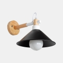 Conical Wall Mount Light with Black Metal Shade Industrial Modern 1 Light Wall Lamp
