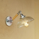 Swirl Glass Dome Sconce Light Modern Adjustable 1 Light Wall Lighting in Chrome for Staircase