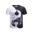 Unique 3D Black and White Skull Pattern Short Sleeve Loose Fitted T-Shirt